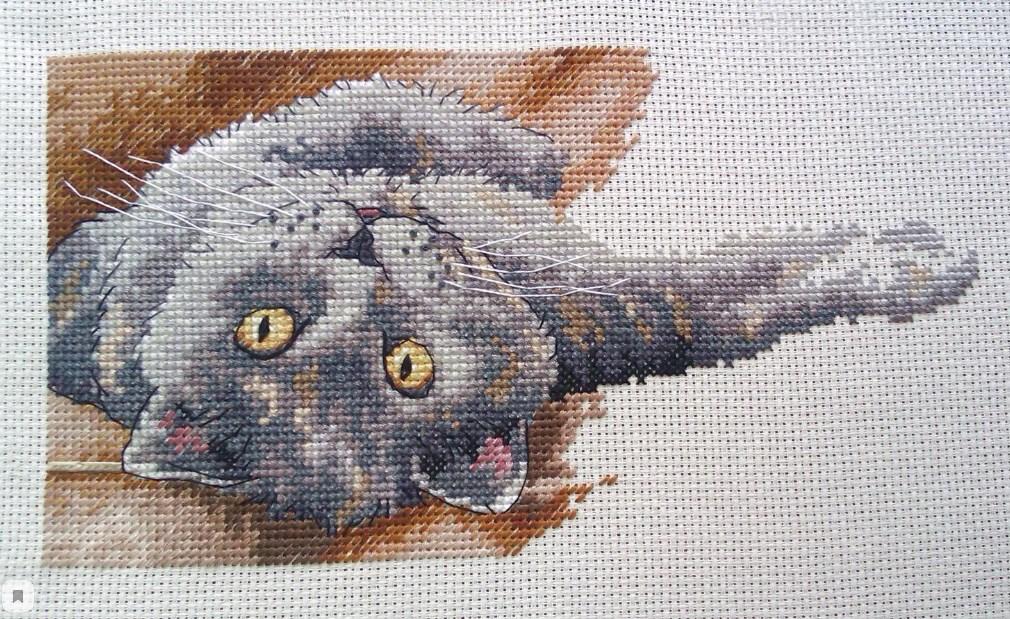 Вышивка кошка изменяет жизнь хозяйки к лучшему, используется как метафора материнства и уютного дома.